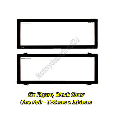 Number Plate Covers 6 Figure Standard Black Clear One Pair 6NL Lifetime Warranty