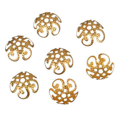 200 Pcs Wholsale Sivery Hollow Flower End Spacer Metal Bead Caps Jewelry Making