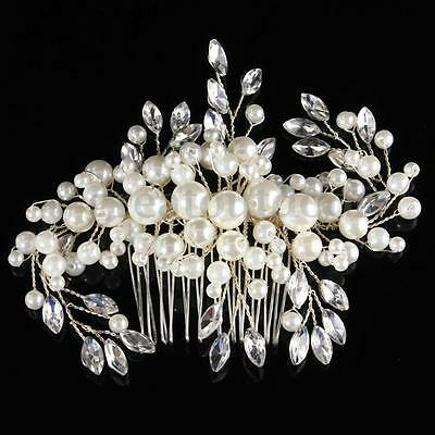 Bridal Wedding Rhinestones Hair Comb Pearl Crystal Clip Bridesmaid Headpiece