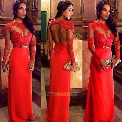 Sexy Women Lace Long Evening Prom Gown Formal Bridesmaid Cocktail Party Dress