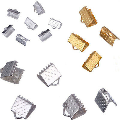 60/70/80PCS 6mm 8mm 10mm Cord Necklace Silvery Golden Over Clip Cord Crimp Ends