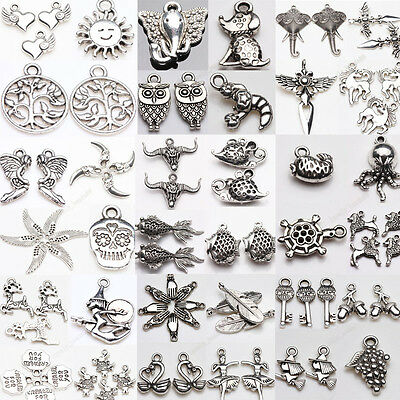 Vintage  Silver Plated Carving Charms Beads Pendants DIY Jewelry  Findings