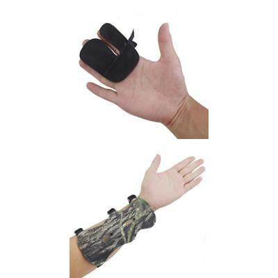 Camouflage Leather Shooting Archery 3 Strap Arm Guard & Black Finger Tab Glove