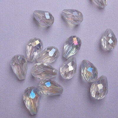 20pcs 8x12mm Faceted Teardrop glass crystal Charm Finding Loose Spacer beads ']