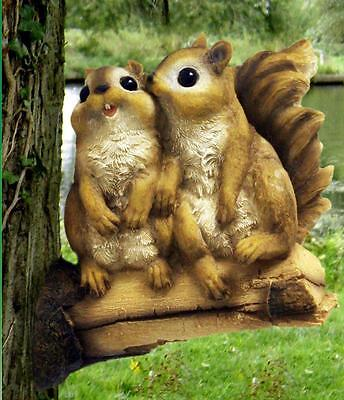 Cute 2 Squirrels On Branch Garden Tree Fence Patio Decoration Ornament NEW