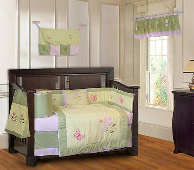 10 Piece Daisy Butterfly Baby Girl Crib Bedding (including musical MOBILE)