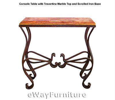 Console Table with Travertine Marble Top & Scrolled Wrought Iron Base Furniture