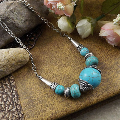 Vintage Women Blue Turquoise Big Beads String Tibetan Silver Pendant Necklace