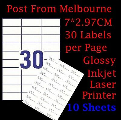 10X A4 White Glossy 30/Page 3x10 Self Adhesive Sticker Mailing Address Labels