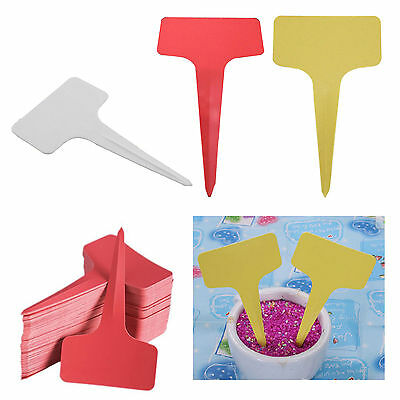 Set of 100 Pcs Plastic Plant T-type Tags Markers Nursery Garden Labels