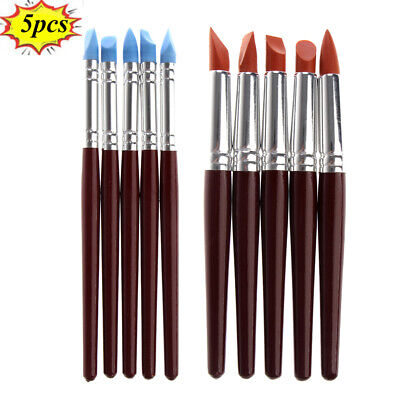 5Pcs Clay Sculpting Wax Carving Pottery Tools Polymer Modeling Birch Handle Set