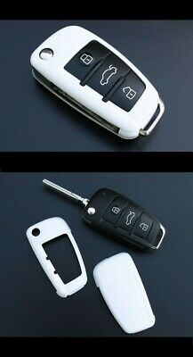 Audi White Remote Flip Key Cover Case Skin Shell Cap Fob Protection Bag Hull-