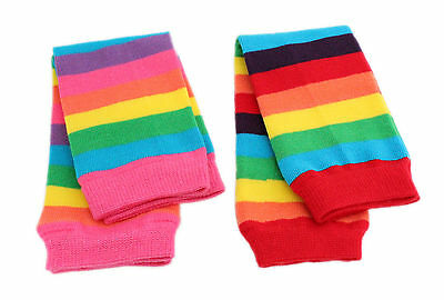 Baby Kids Boys Girls Pink Red Rainbow Stripes Leg Warmer Party Fancy Dress Dance