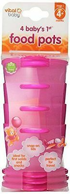 Vital Baby Baby's 1st Food Pots, Pink,  4 Pack