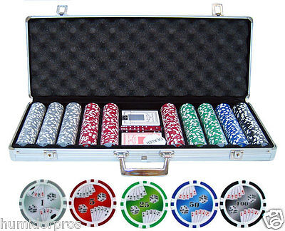Double Royal Flush Texas Hold Em 11.5g 500 pc Clay Poker Chips + Case Cards Dice