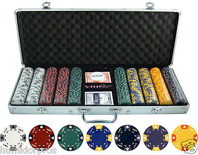 Pro Style Tri Color Hold 'Em 13.5g 500 pc Clay Poker Chips w/ Case Cards Dice
