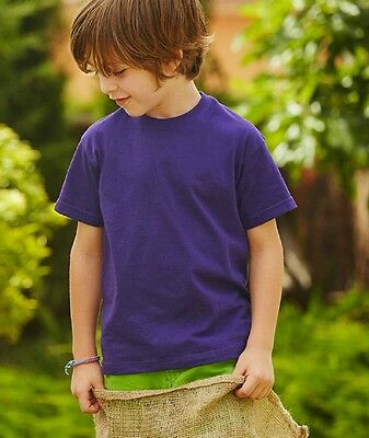 Maglietta Maniche Corte Bambino Cotone Fruit Of The Loom T-Shirt Manica Corta