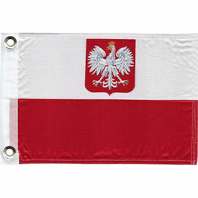 "Polish Double Sided Boat Flag with Eagle 11"" x 15"" Poland Polska Pride Banner"