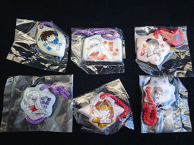 2002 Japan Bandai Inuyasha Set of 6 Mini Blessing Porcelain Charm Strap Gashapon