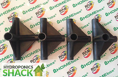 Homebox 4 Pack Grow Tent Room 4 WAY Connector Corners Tee Joint for 16 MM Poles & HOMEBOX GROW TENT 3 Way Connector Replacement Plastic Corner Piece w ...