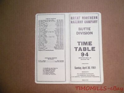 1961 Great Northern Railway Company Employee Timetable 94 Butte Division GNR ETT