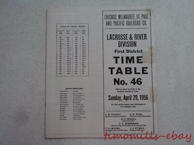 1956 Milwaukee Road Railroad Employee Timetable 46 LaCrosse & River Division 1st