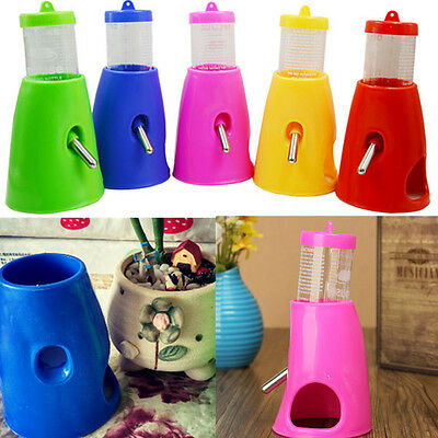 2 in 1 Hamsters Water Bottle Holder Dispenser With Base Hut Small Animal Hideout