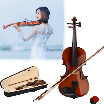 Hot Acoustic Violin 4/4 Full Size with Case and Bow Rosin Natural Color