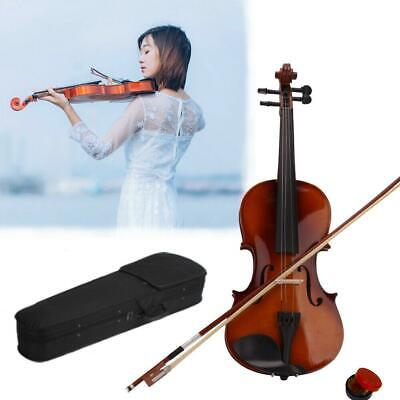 New School Acoustic Violin 4/4 Full Size with Case and Bow Rosin Wood Color