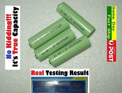 4 x AA 1.2V Ni-MH 1000mAh (True, NOT fake) HQ NiMH rechargeable battery AU Local