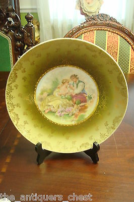 Antique Victoria Carlsbad Austria Bowl Hand Painted Garden Courting Lovers[#40]
