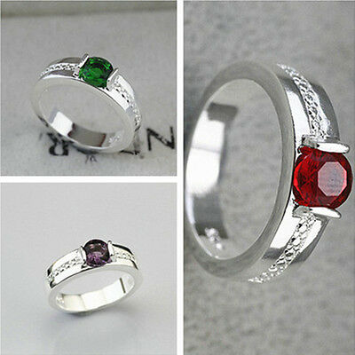 925 Solid Sterling Silver Plated Women NEW Fashion Zircon Ring Gift SIZE 8 HR465