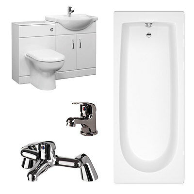 Cheap Complete Furniture Bathroom Suite Including 1700 x 700mm Bath & Taps