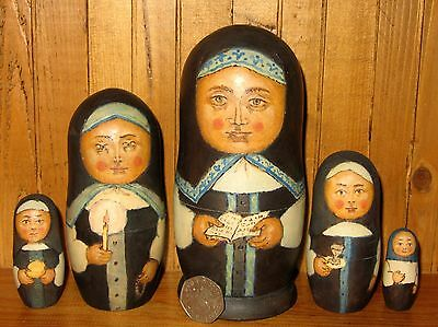 Russian UNIQUE hand painted nesting doll 5 NUN Monastery candle RYABOV RETIRED