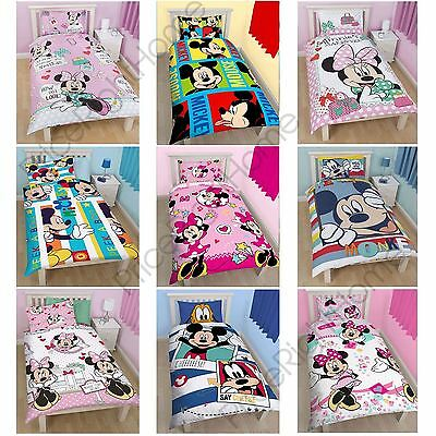 Disney Mickey Or Minnie Mouse Single Junior Duvet Cover Sets Kids Bedding