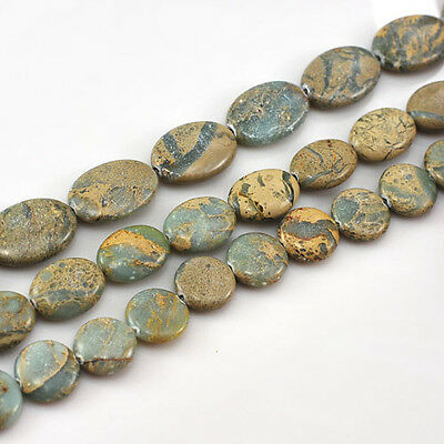 "Natural Ocean Jasper beads, 15"" Oval or Coin Pick your size"