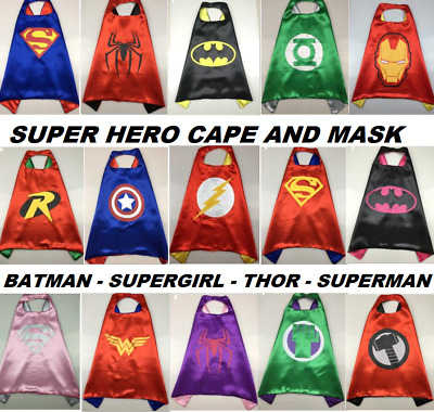 Superhero Cape Mask Cape & Mask Batman Superman Bat Girl Thor Hulk Kids Gift