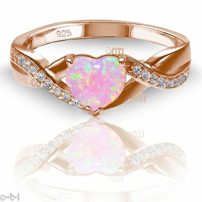 18k Rose Gold Plated Pink Moon Fire Stone Opal Heart Cut Infinity Celtic Ring