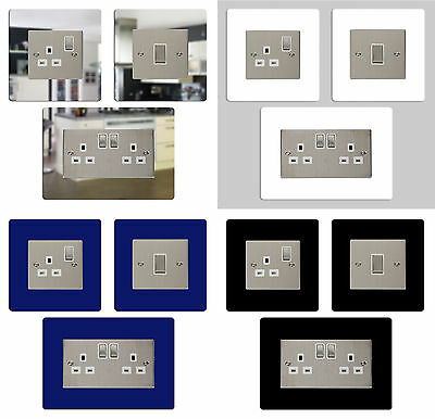 3 FOR 2! Light Switch, Single, Double Socket Surround Cover Plate Silver Mirror