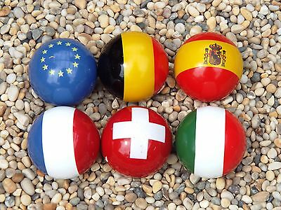 Set of 6 European Flag jacks coches incl Spain/Italy/France for Petanque Boules
