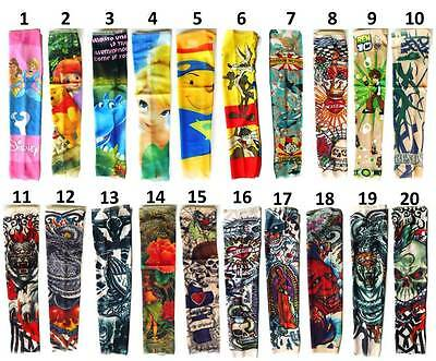 "New 12"" Temporary Tattoo Sleeves Elastic Arm Warmer For Kids Girls Boys"