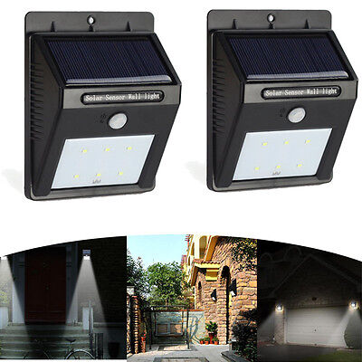 1Pair Waterproof Outdoor Solar Power PIR Motion Sensor Bright LED Wall Light New