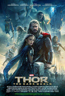 THOR 2 The Dark World MOVIE POSTER DS 27x40 CHRIS HEMSWORTH Final Style MINT CON