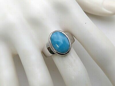Larimar Beautiful 10X14mm 6.5ct Natural Solid .925 Sterling Silver Ring Size 9