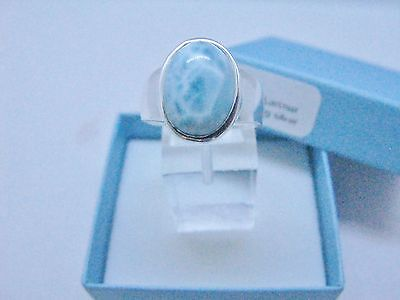 Larimar Beautiful 10X14mm 6.5ct Natural Solid .925 Sterling Silver Ring Size 8