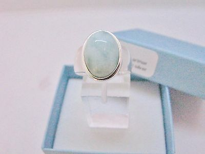 Larimar Beautiful 10X14mm 6.5ct Natural Solid .925 Sterling Silver Ring Size 6