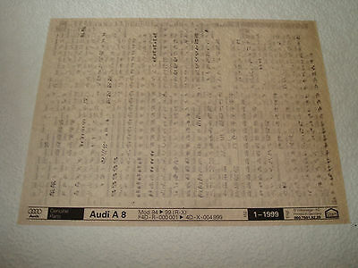 AUDI A8 MOD.94 to 99 (R-X) PARTS MICROFICHE FULL SET OF 1 - DATED JANUARY 1999