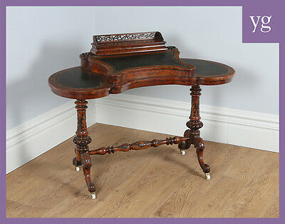 Antique Victorian Burr Walnut Kidney Shaped Leather Writing Desk Table (c.1860)