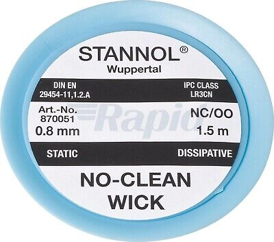 Stannol Desoldering Braid 0.8mm 1.5m braided wick for solder removal