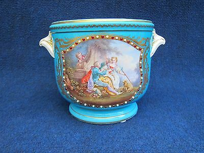 Sevres Style Turkish Blue Jewelled Planter With Watteau Scene 1850-1890